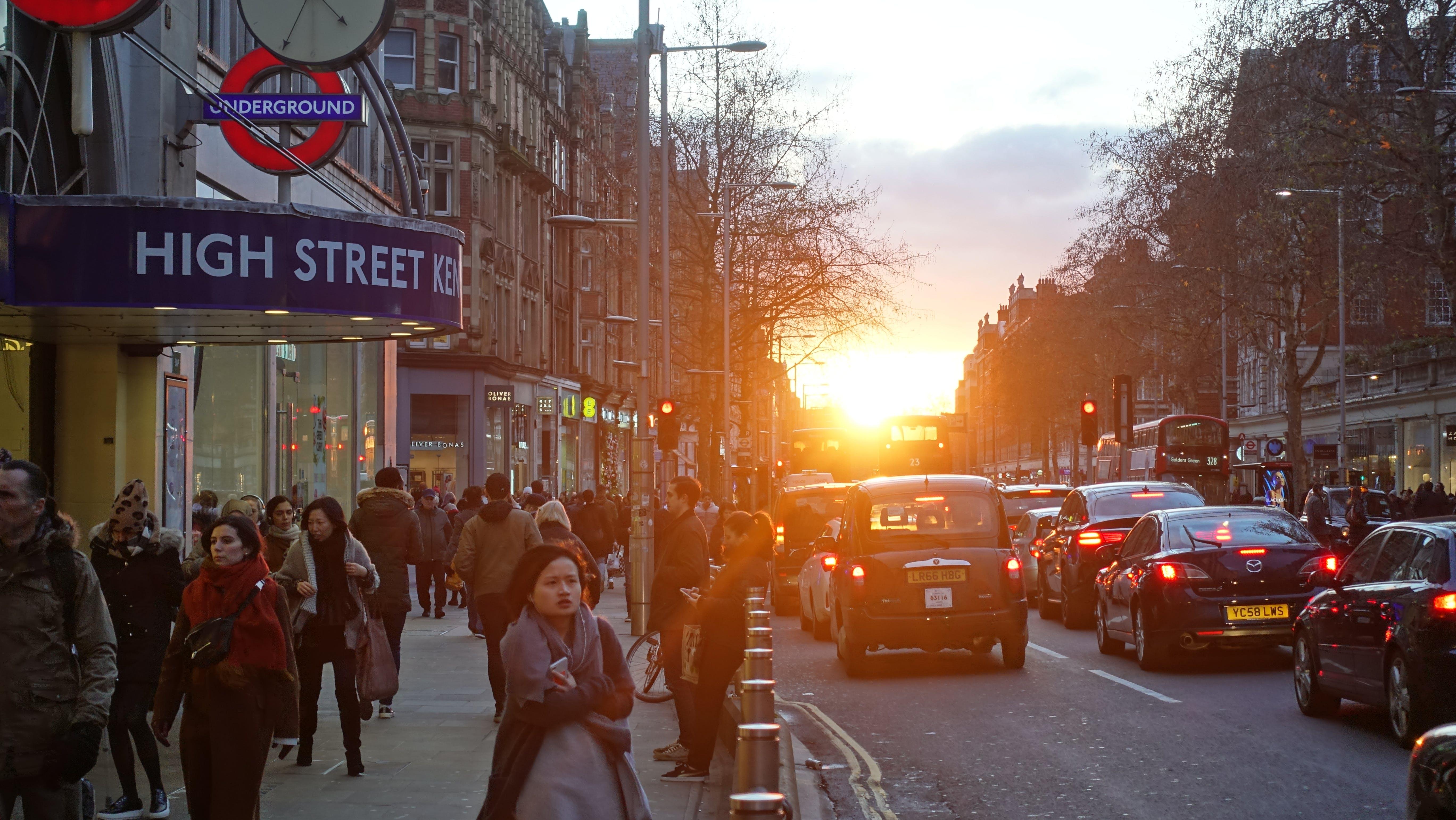 Free stock photo of evening sun, shopping district, sunset, traffic