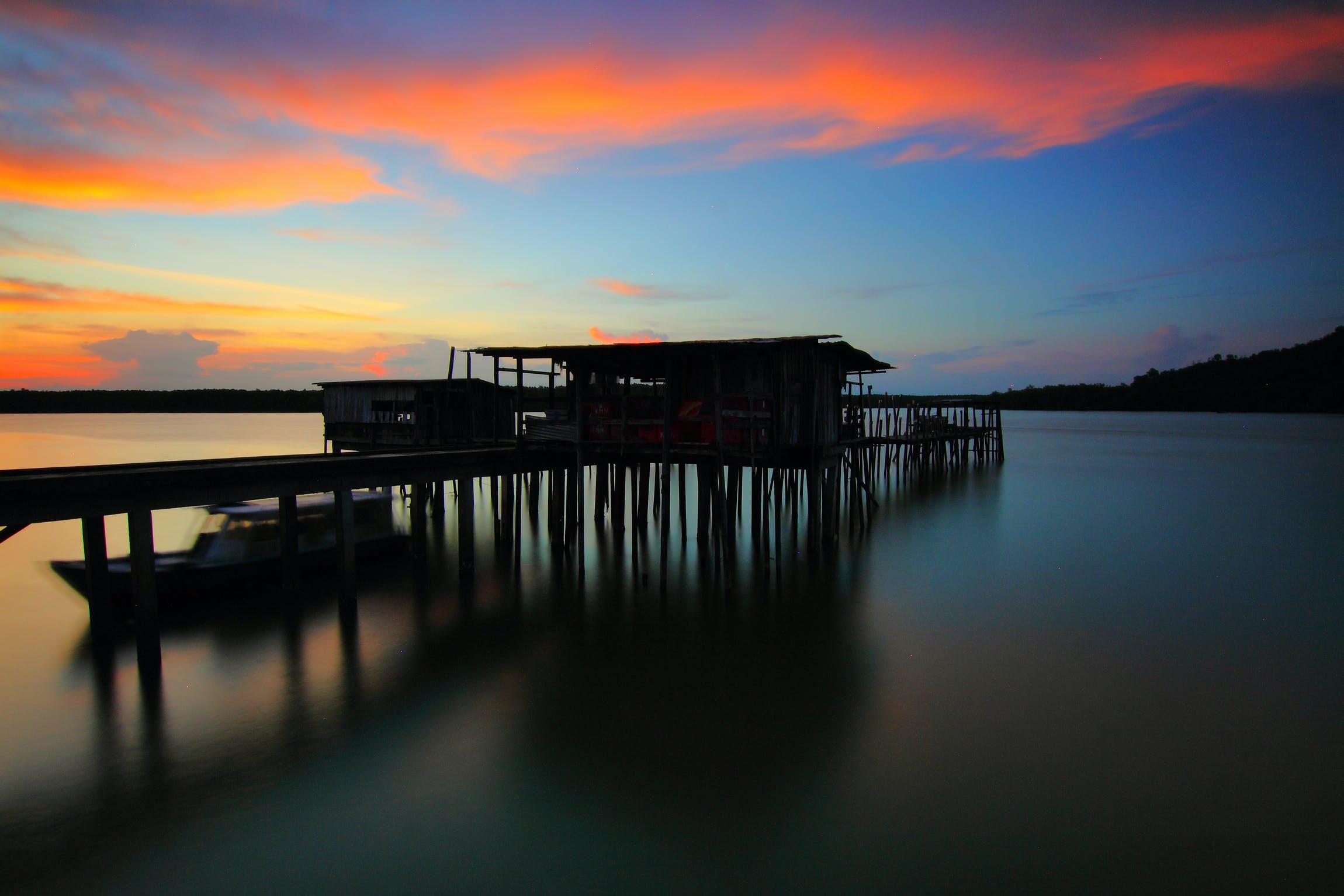берег моря, відображення, вечір