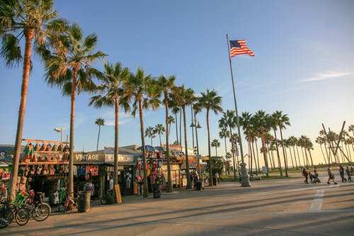 Free stock photo of American flag, beach town, venice