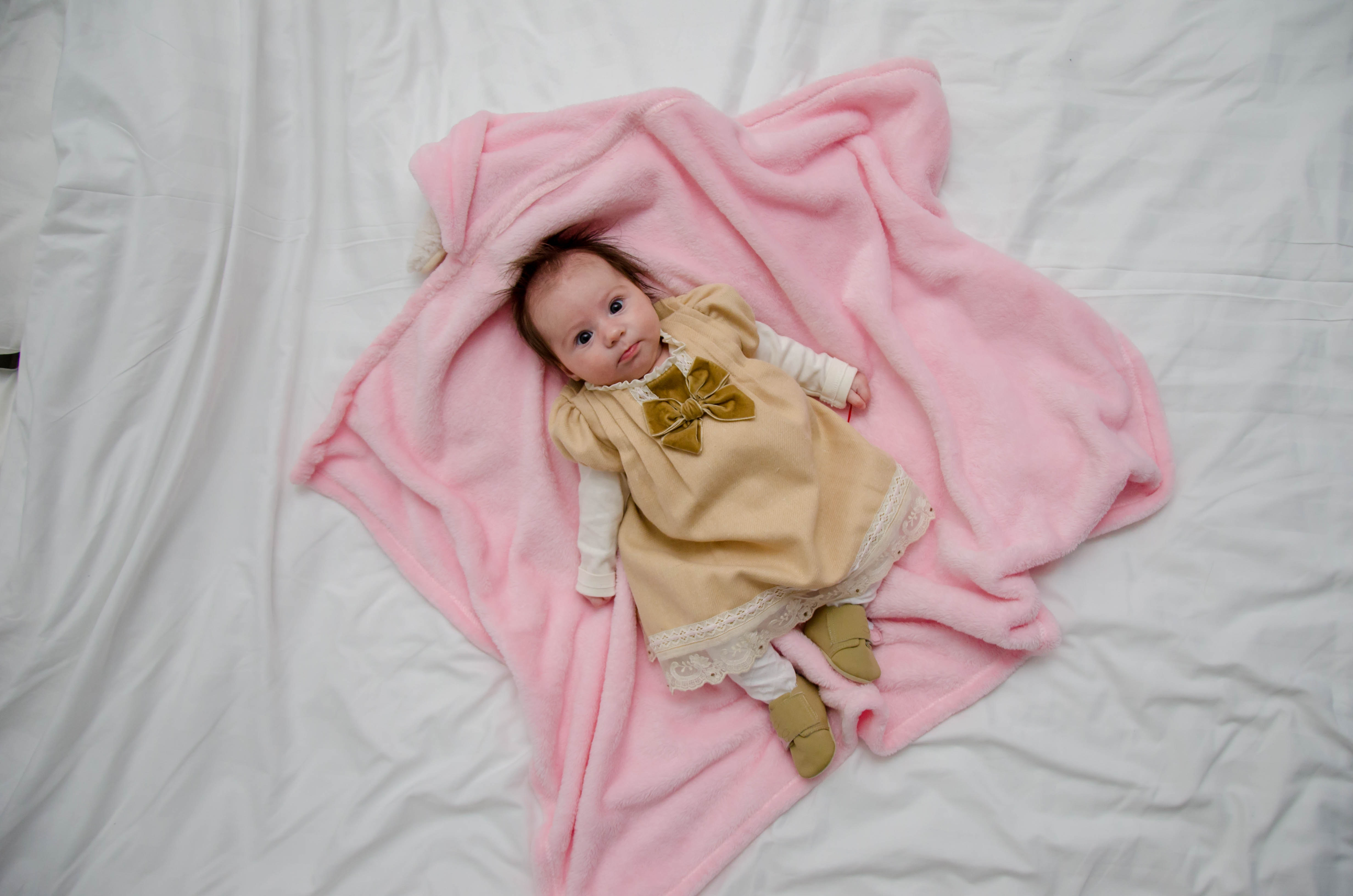 Baby Sleeping Beside Girl On Gray Floral Textile 183 Free