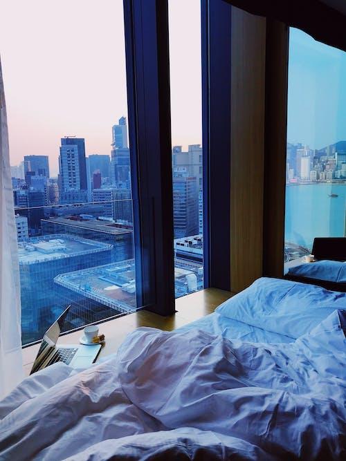 Pink Bedspread Inside Room