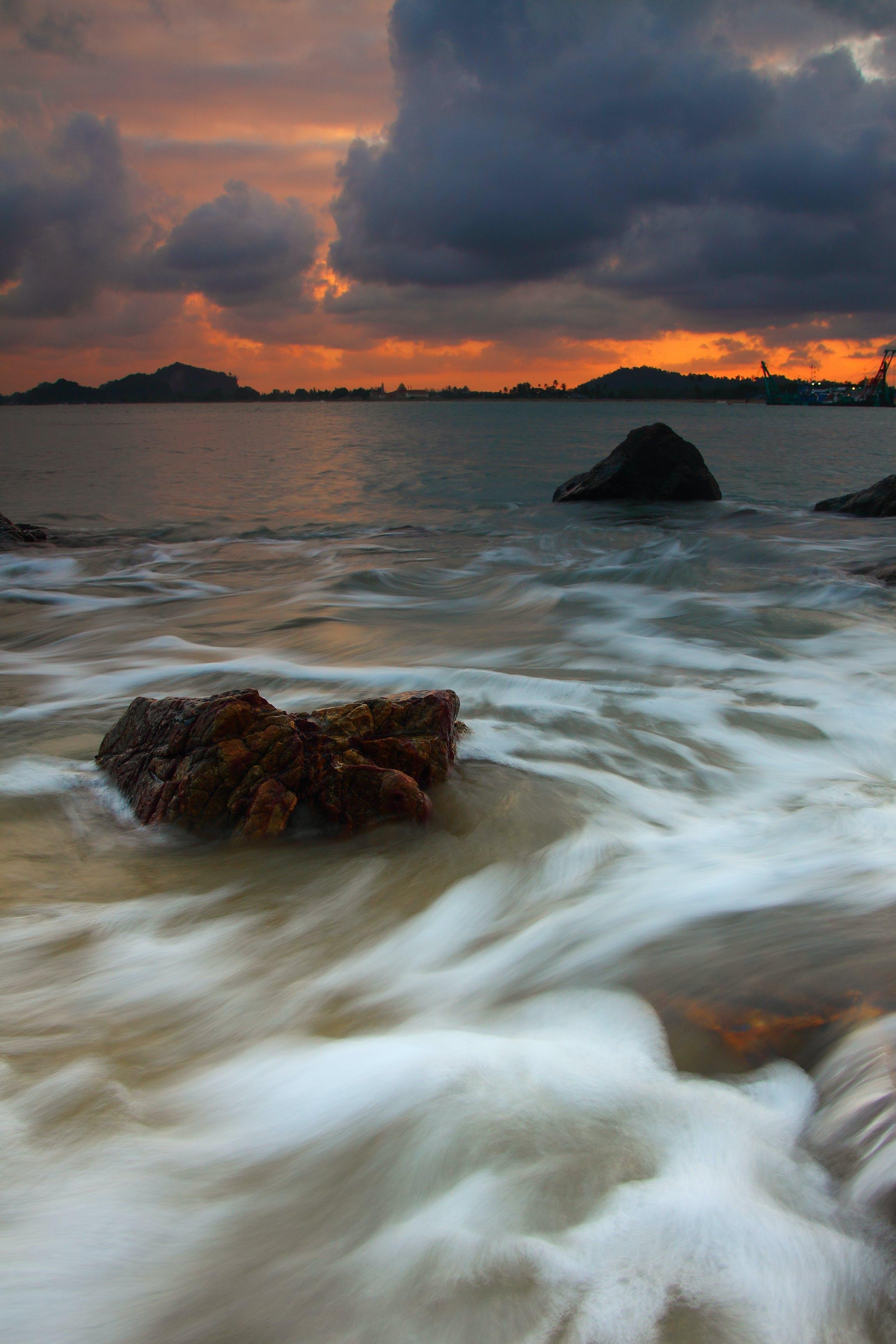 beach, clouds, dawn