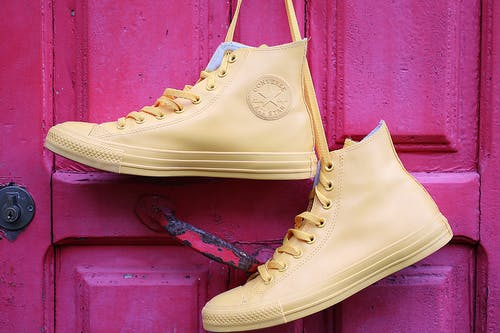 Hanging Yellow Converse High-top Sneakers