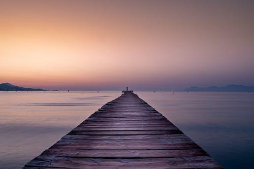 คลังภาพถ่ายฟรี ของ คน, ตะวันลับฟ้า, ทะเล, ท่าเทียบเรือ