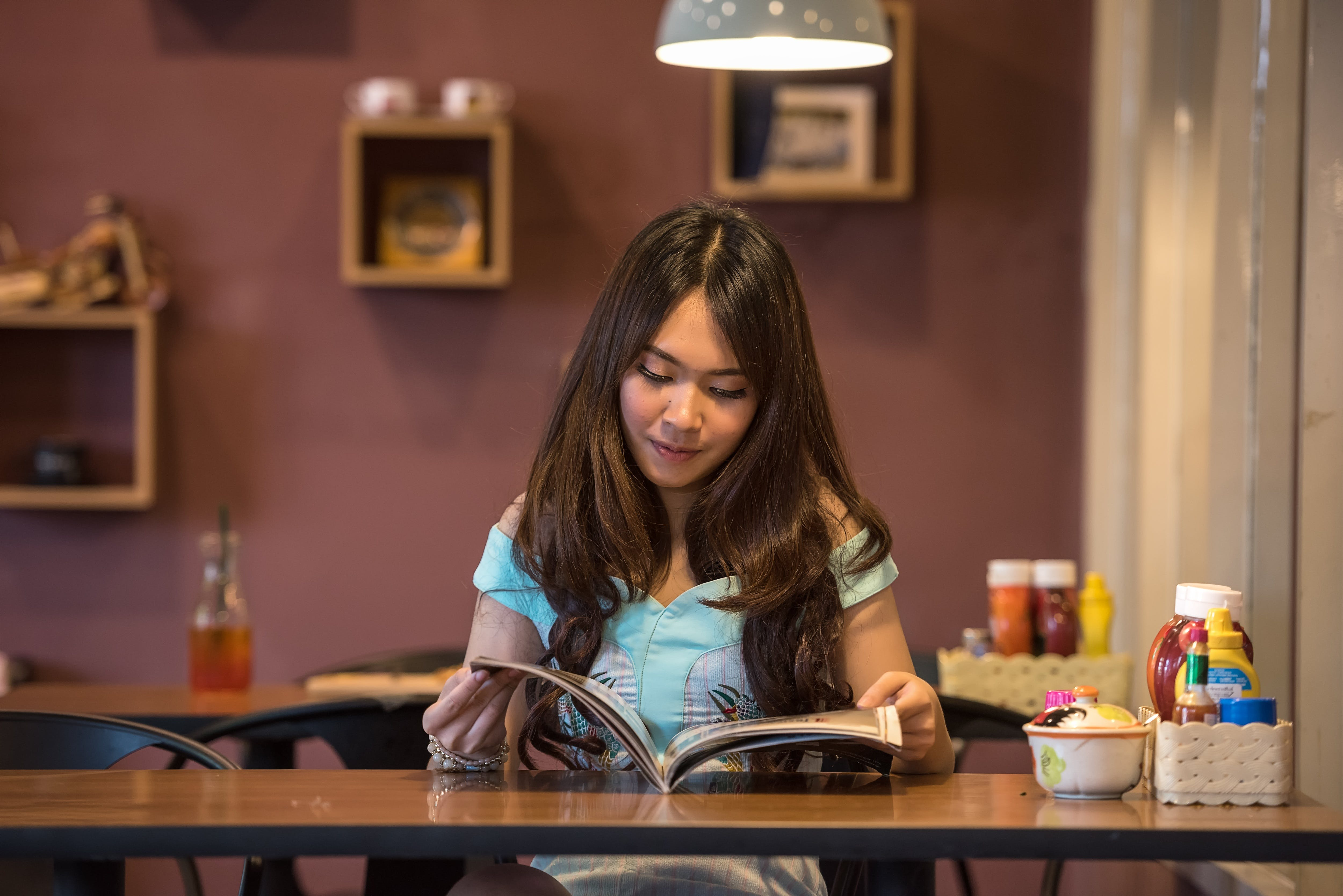 book, desk, girl