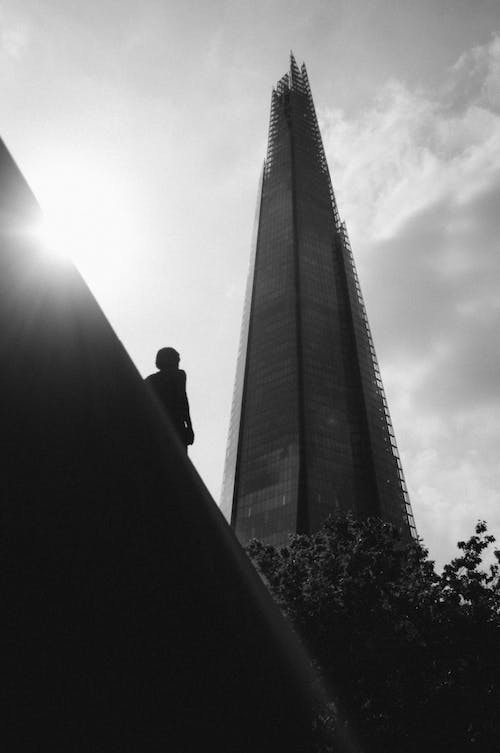 Free stock photo of black and white, building, composition, flare