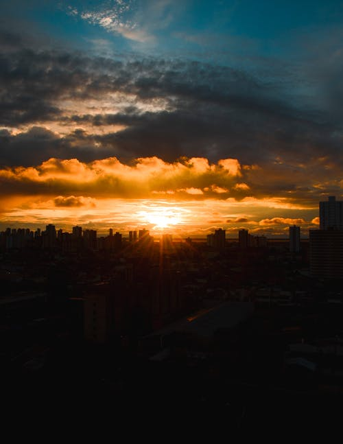 Silhouette Photography Of Buildings During Golden Hour