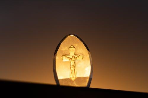 Clear Glass Crucifix Decor