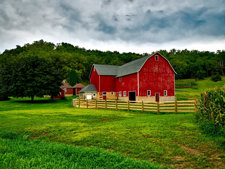 agriculture, barn, clouds