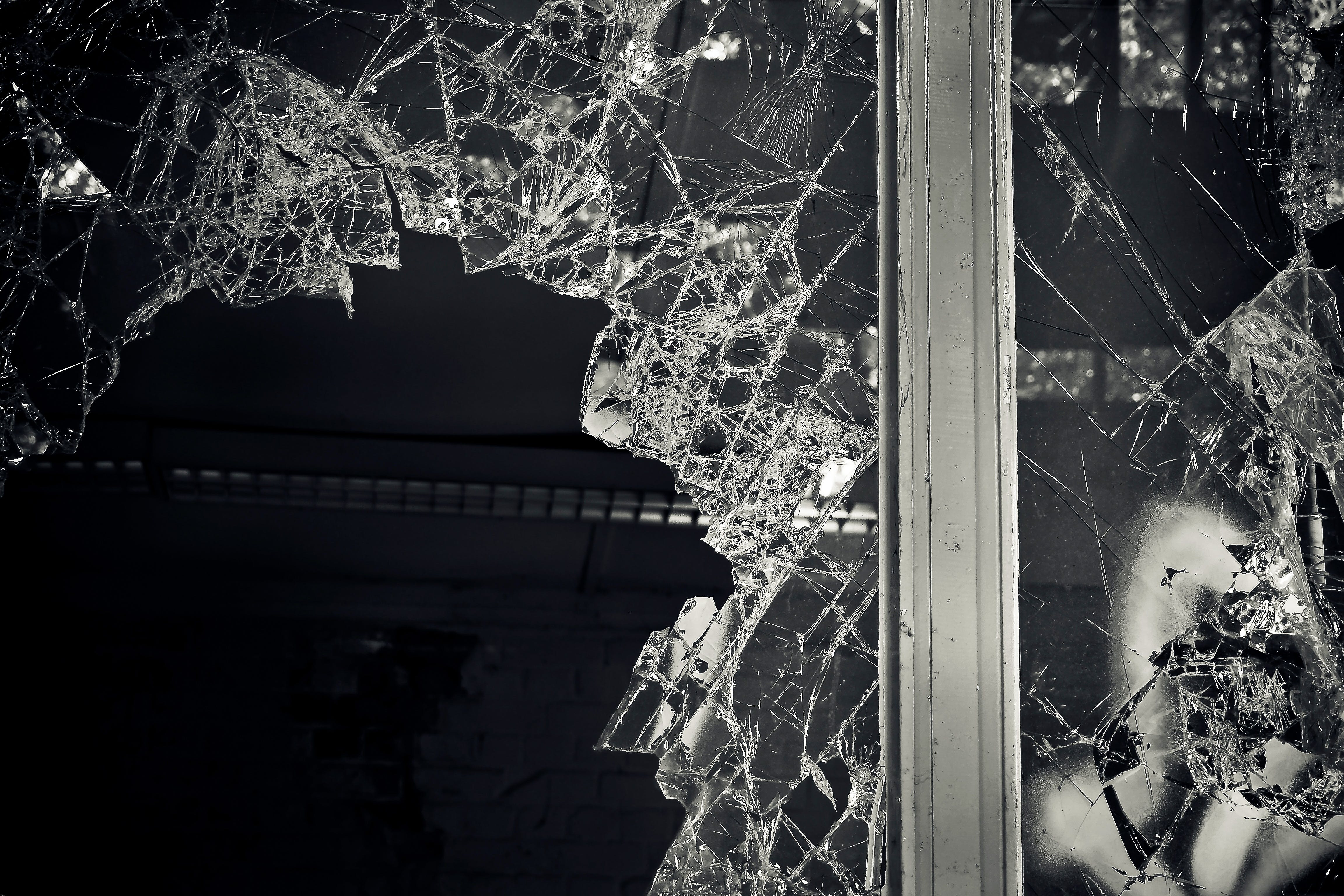 Free stock photo of black-and-white, dark, broken, glass