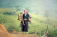 landscape, woman, field