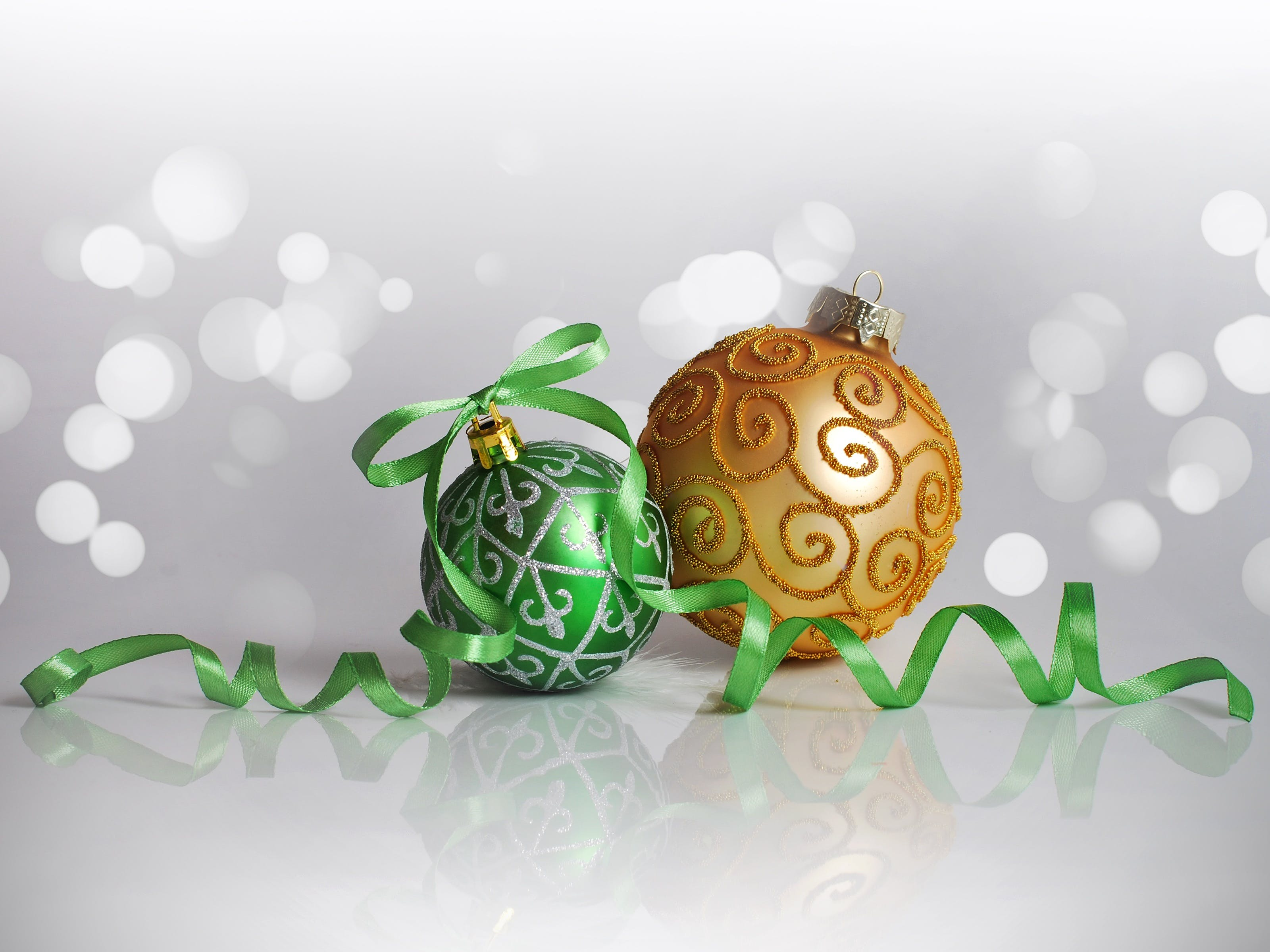 Two Green and Orange Bauble Balls