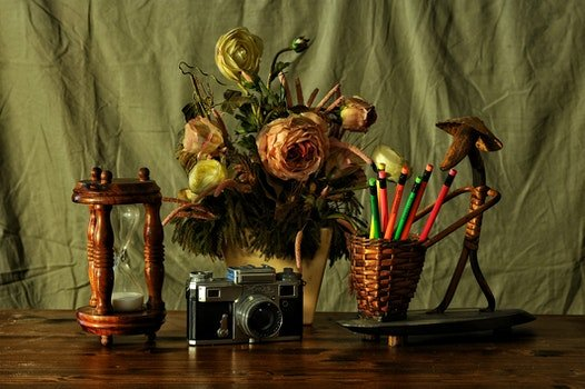 Free stock photo of camera, flowers, desk, decoration