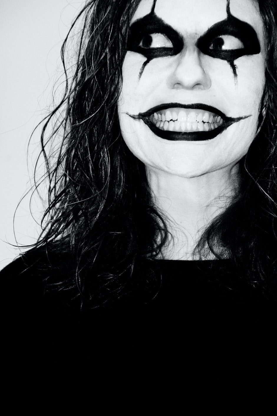 black-and-white, clown, crazy
