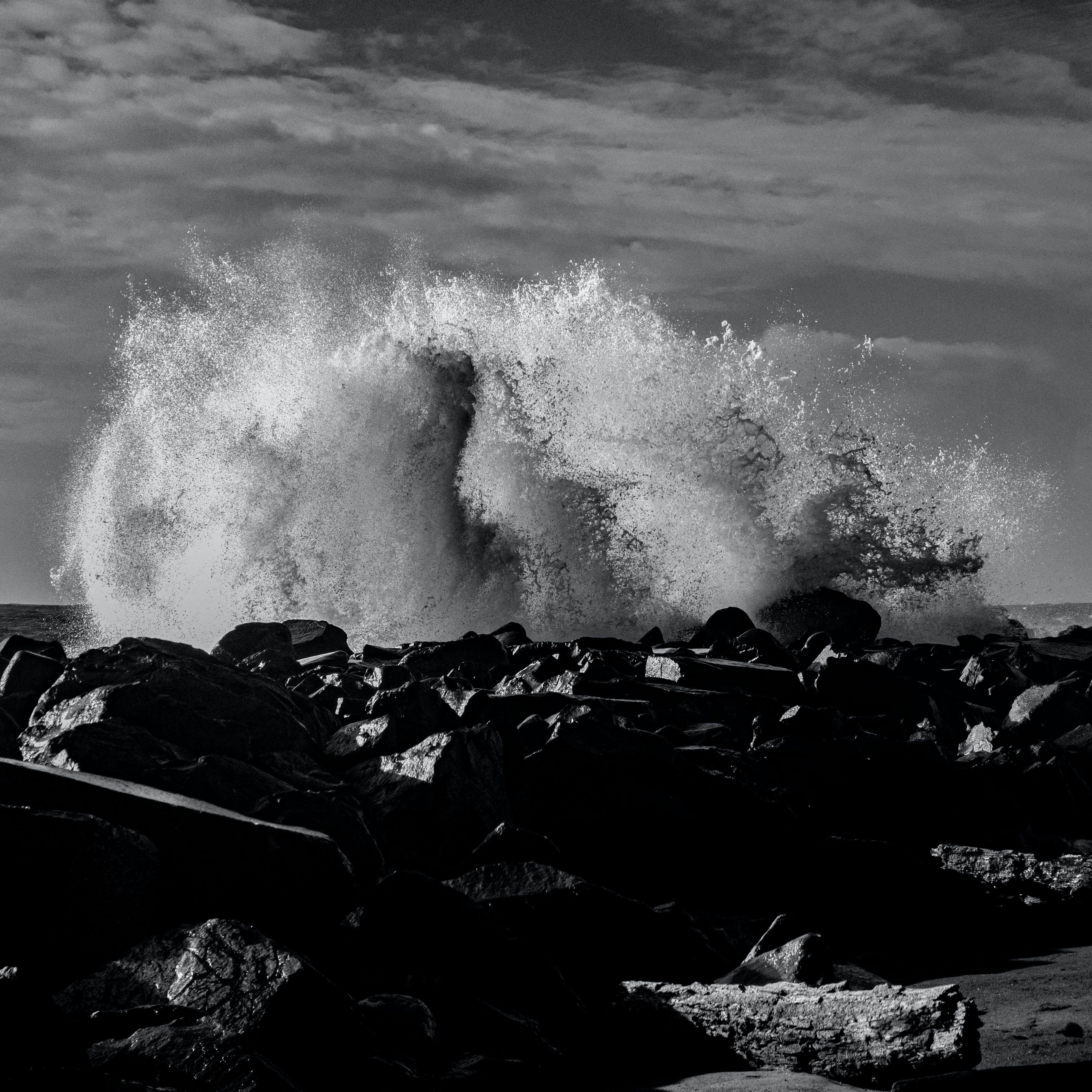 Free stock photo of black and white, wave crashing