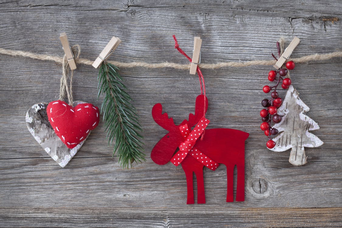 Close-up of Christmas Decorations Hanging