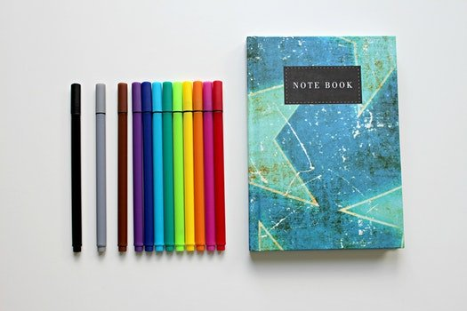 Free stock photo of notebook, colorful, colourful, colored pens