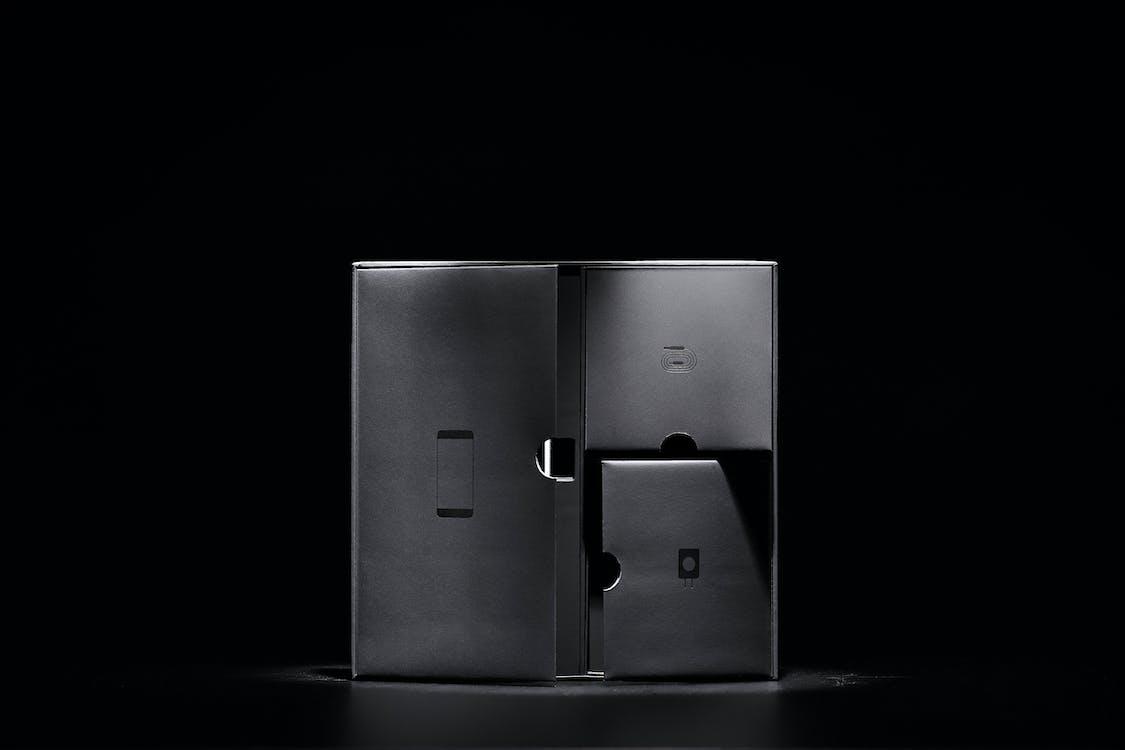černobílý, design, krabice