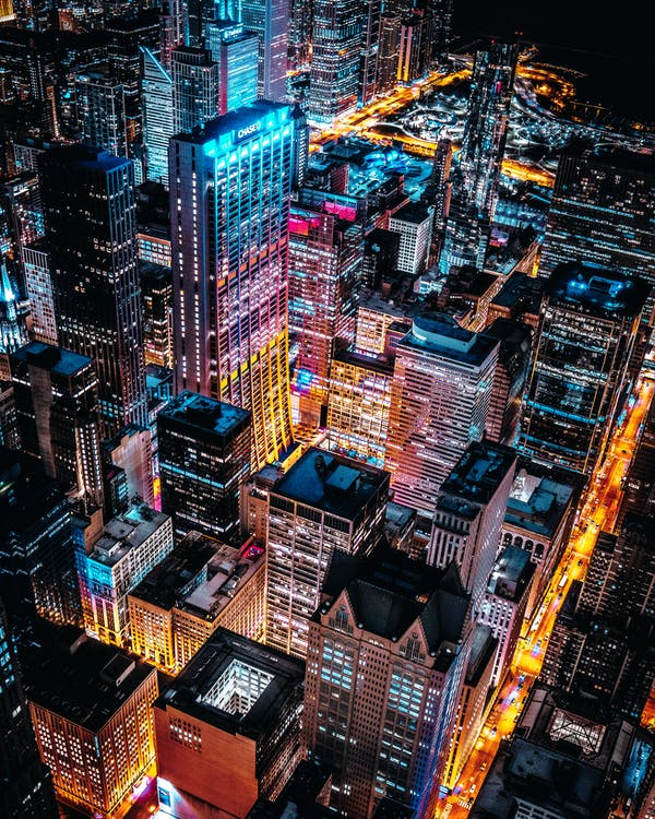 Aerial Photo of Cityscape at Night