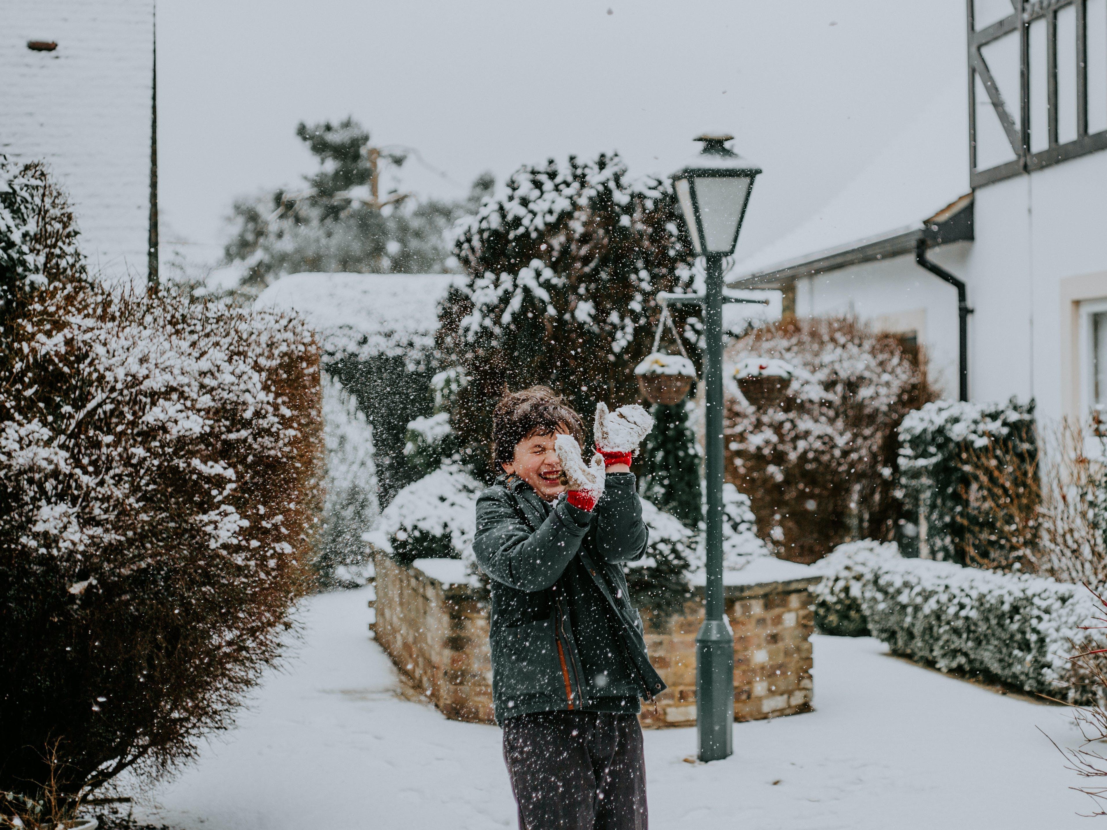 Boy Playing on Snow