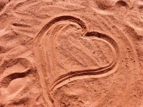 Free stock photo of love, sand, heart