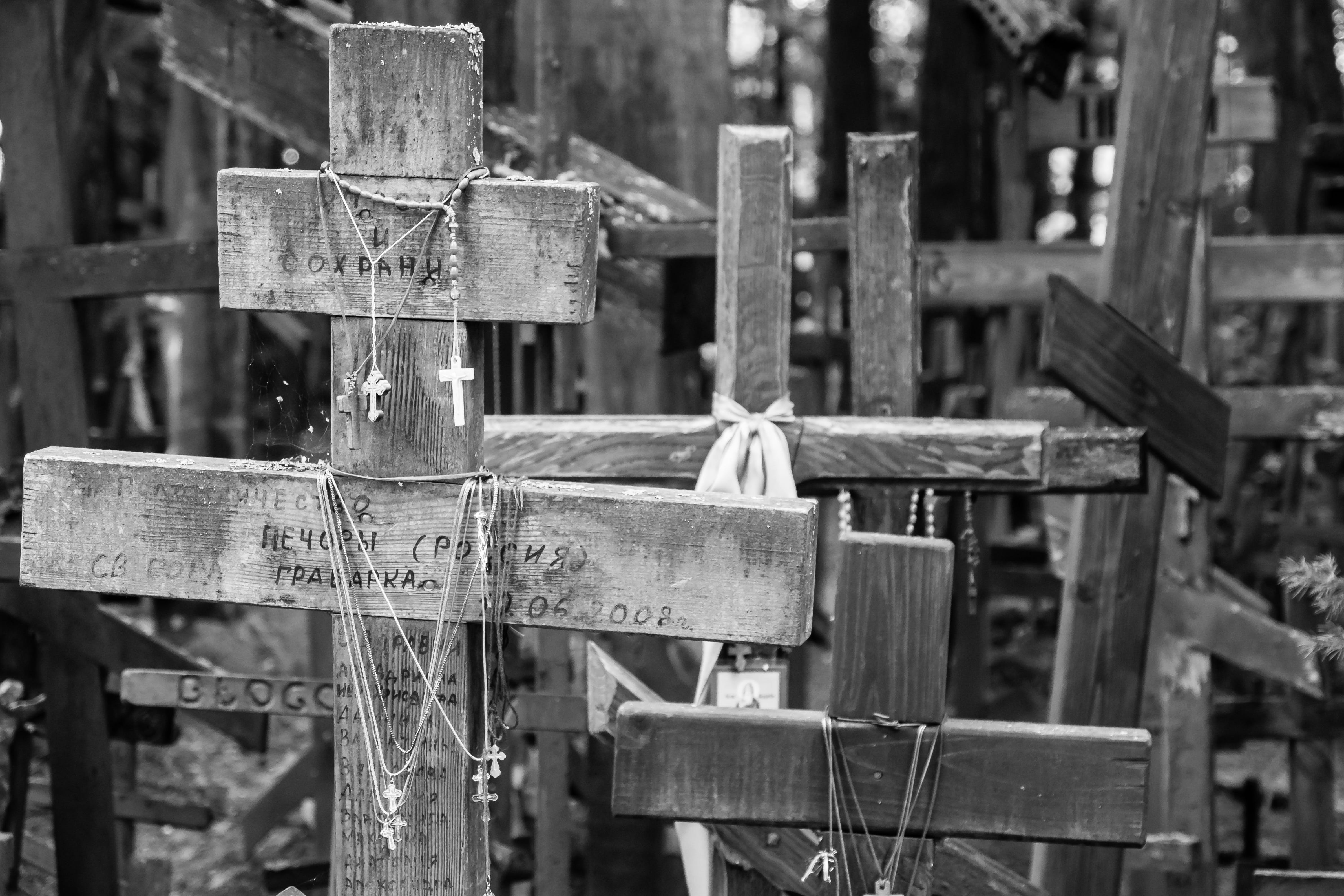 black-and-white, close-up, cross