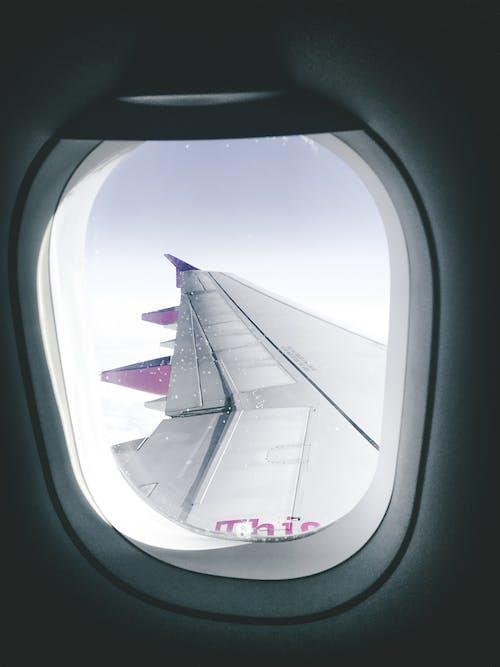 cam, cam kenarı, hava aracı, havacılık içeren Ücretsiz stok fotoğraf