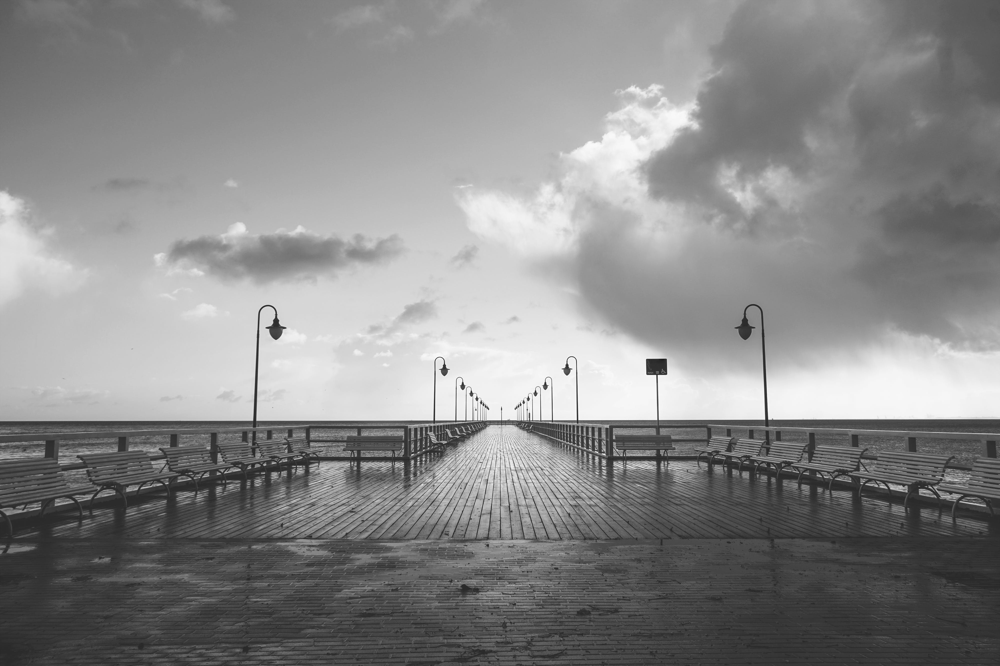 benches, black-and-white, boardwalk