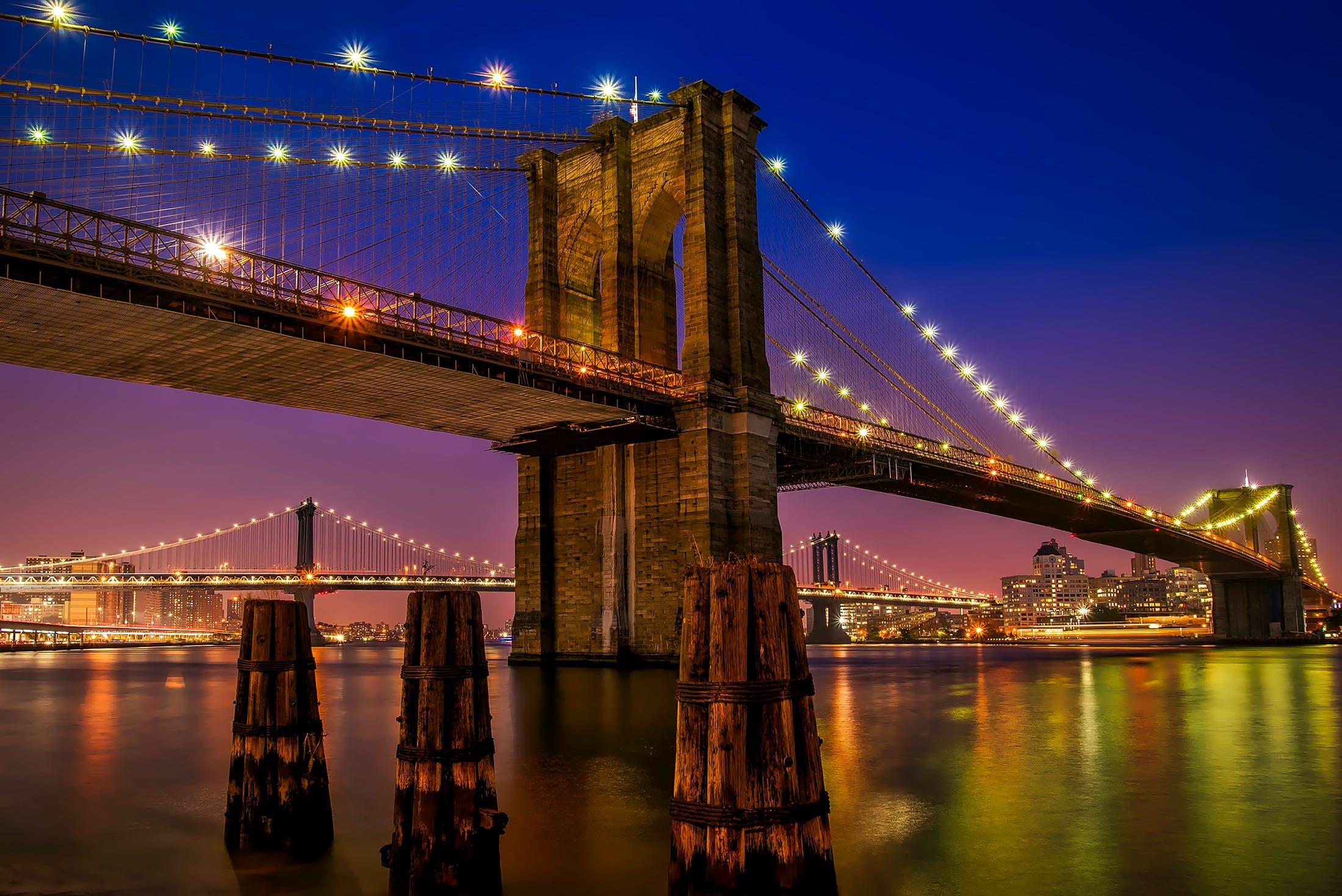 Kostenloses Stock Foto zu abend, architektur, beleuchtung, brooklyn brücke