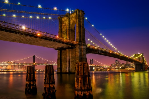 Free stock photo of city, lights, water, new york