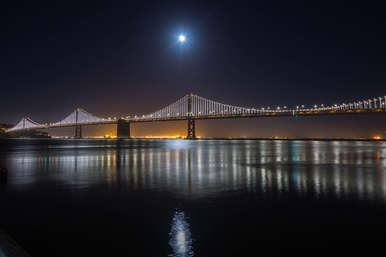 Lighted Concrete Bridge at Night