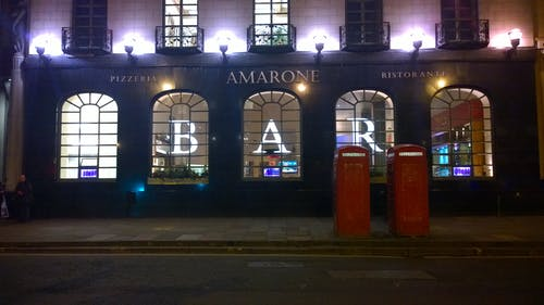 Free stock photo of bar, city lights, phone booth, phone box