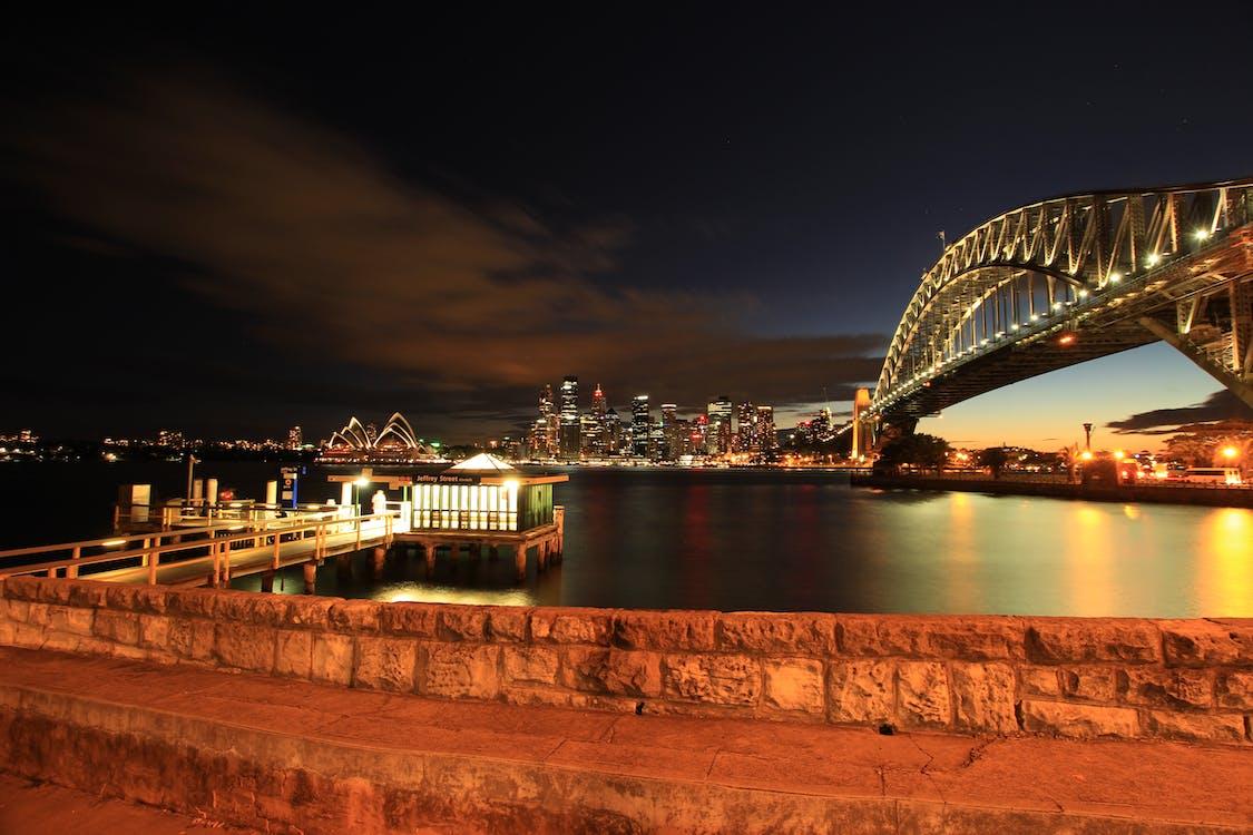 Gray Suspension Bridge during Night Time