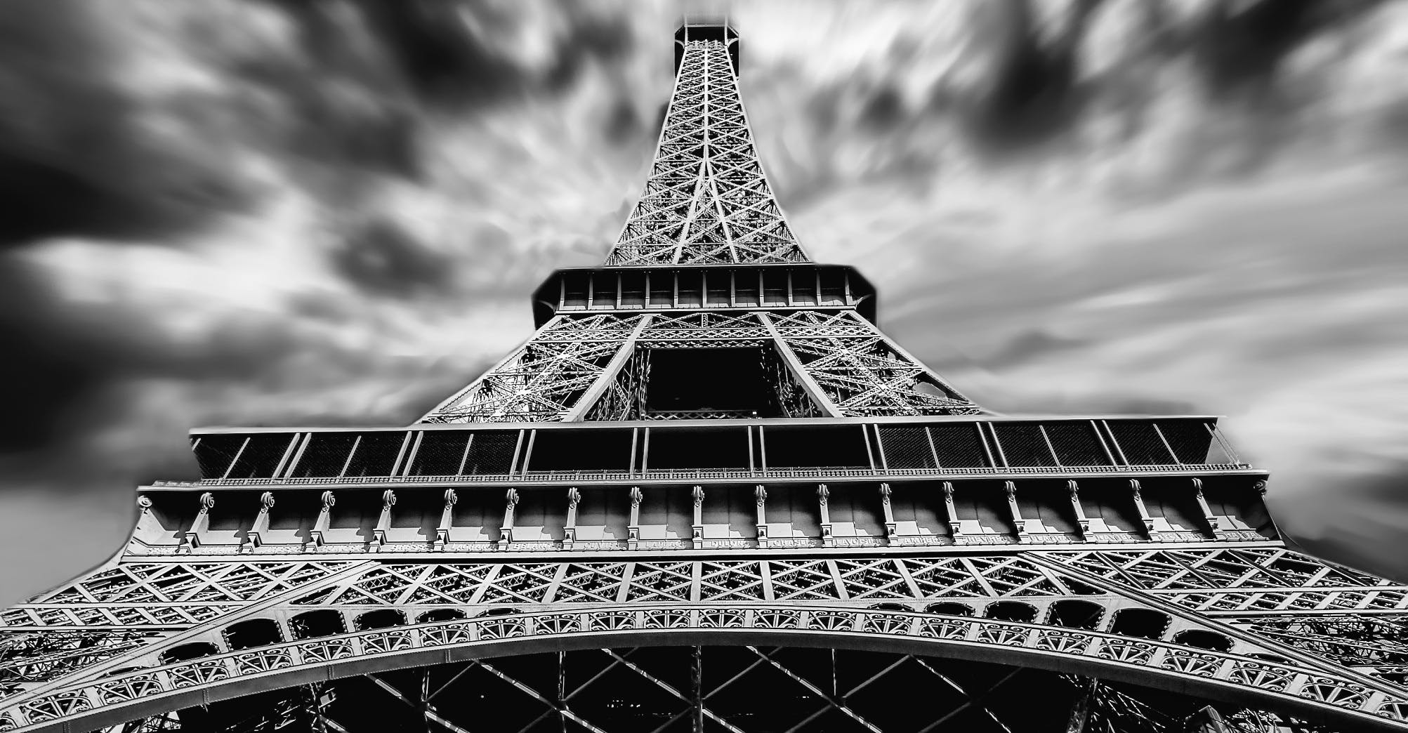 architecture, black-and-white, eiffel tower