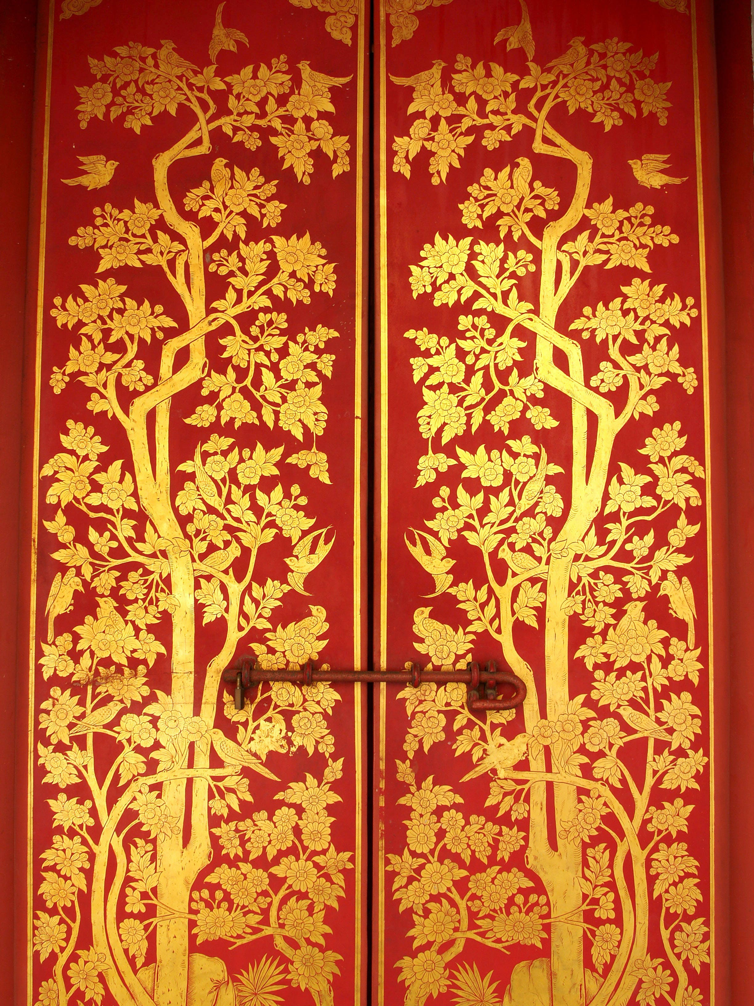 Red-and-yellow Tree Graphic Door