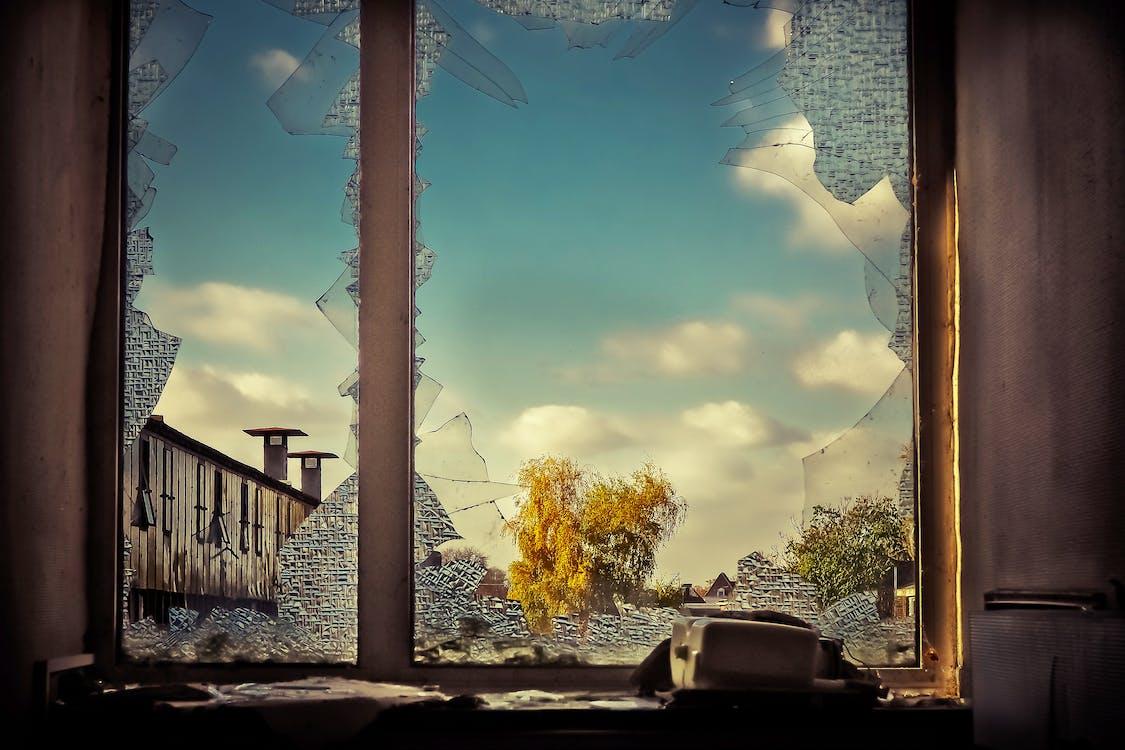 drinkglas, gebroken, glas