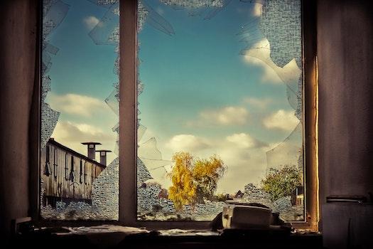 Free stock photo of clouds, broken, glass, window