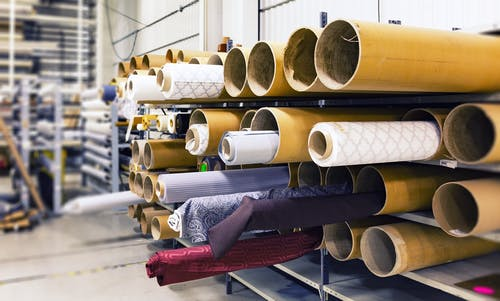 Rolled Textile Lot in Shallow Photo