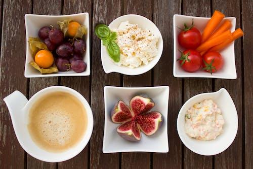 Gratis lagerfoto af grøntsager, kaffe, mad, ost