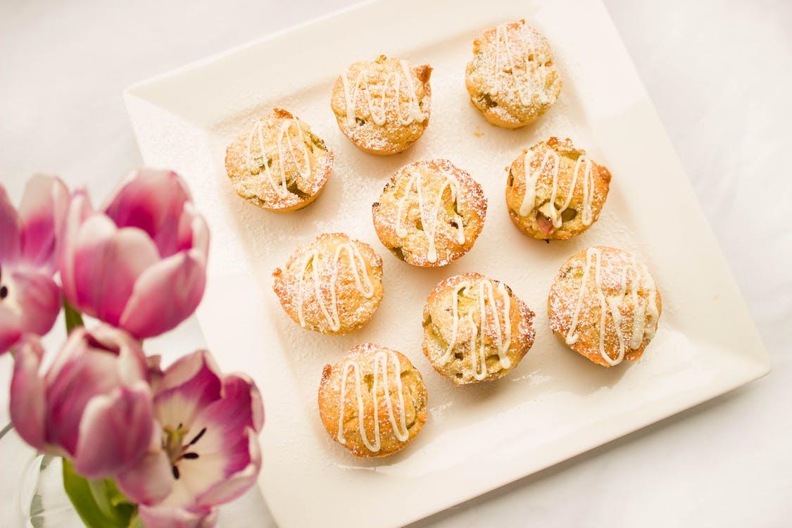 bloemen, eten, gebak
