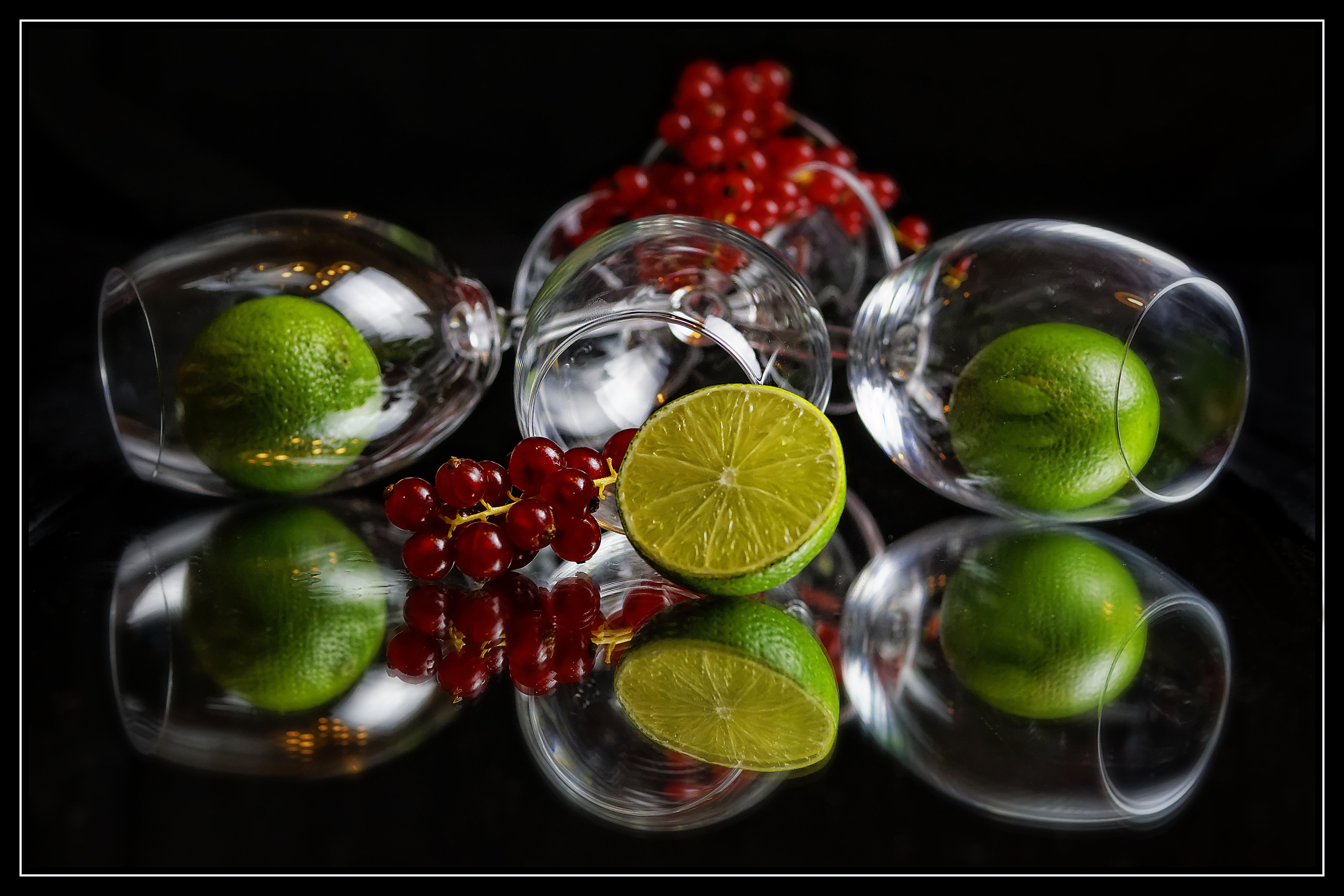Sliced Lime on Clear Shot Glasses