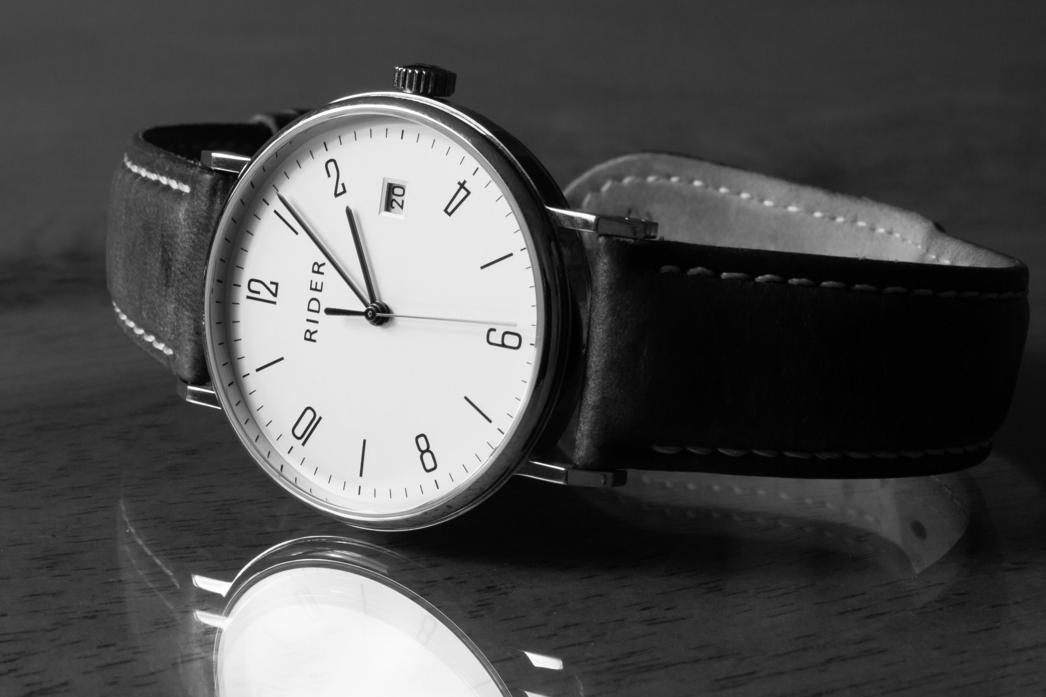 Free stock photo of Analog watch, black and white, time, wrist watch