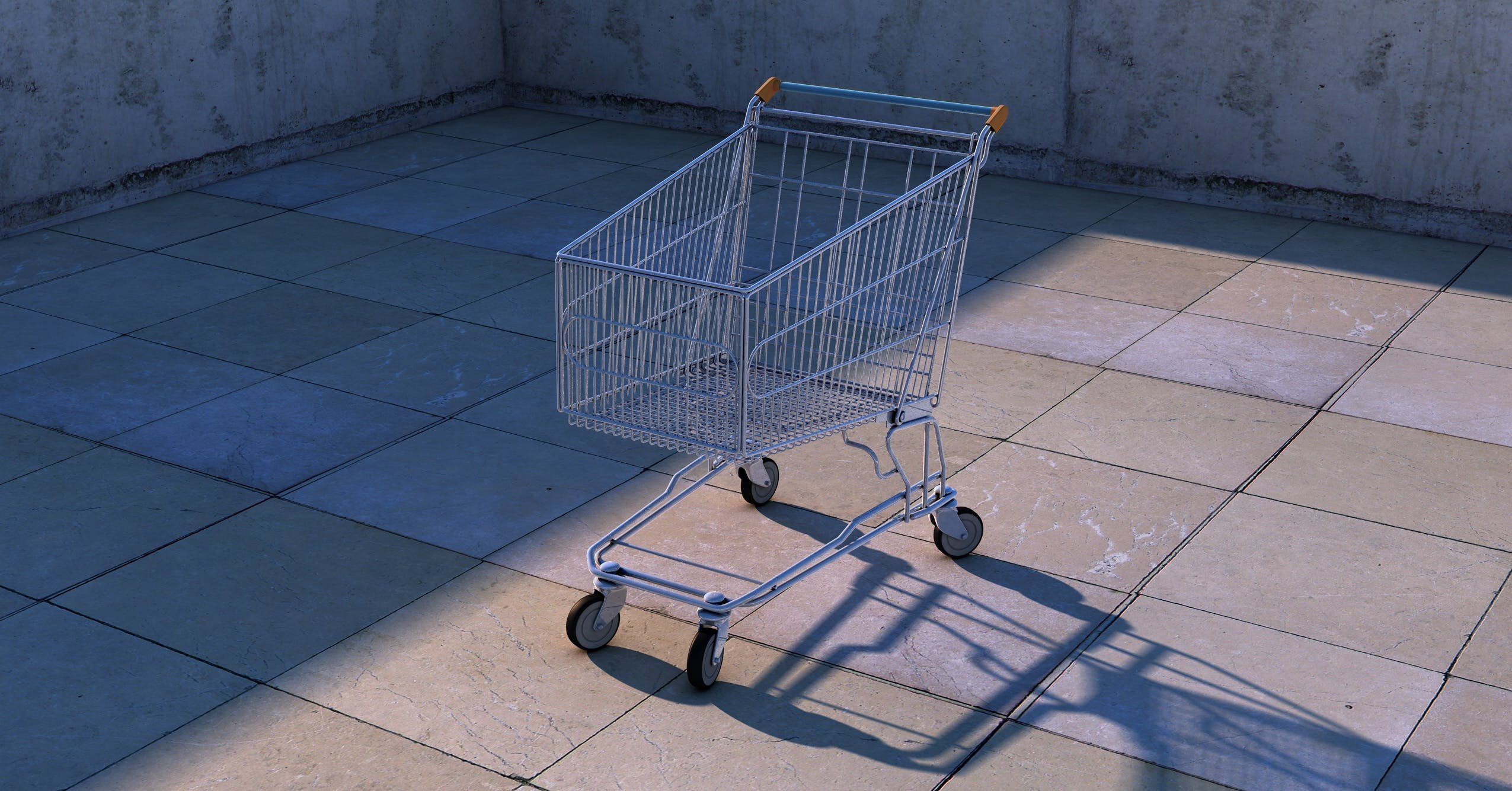 Gray Shopping Cart Inside Room