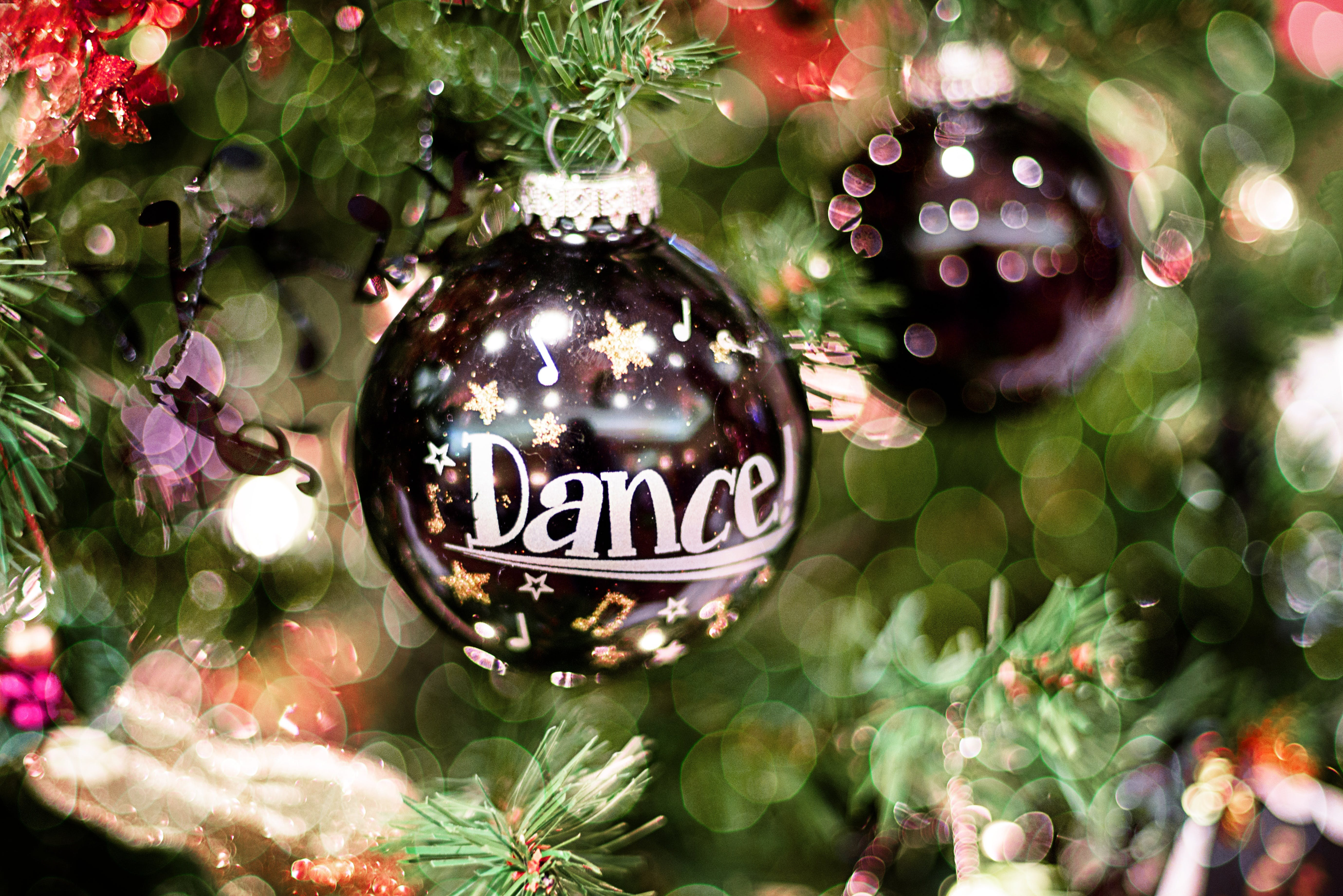 Selective Focus Photography of Black and White Dance!-printed Christmas Bauble
