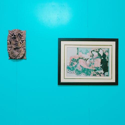 Foto stok gratis bingkai gambar, dinding, dinding biru