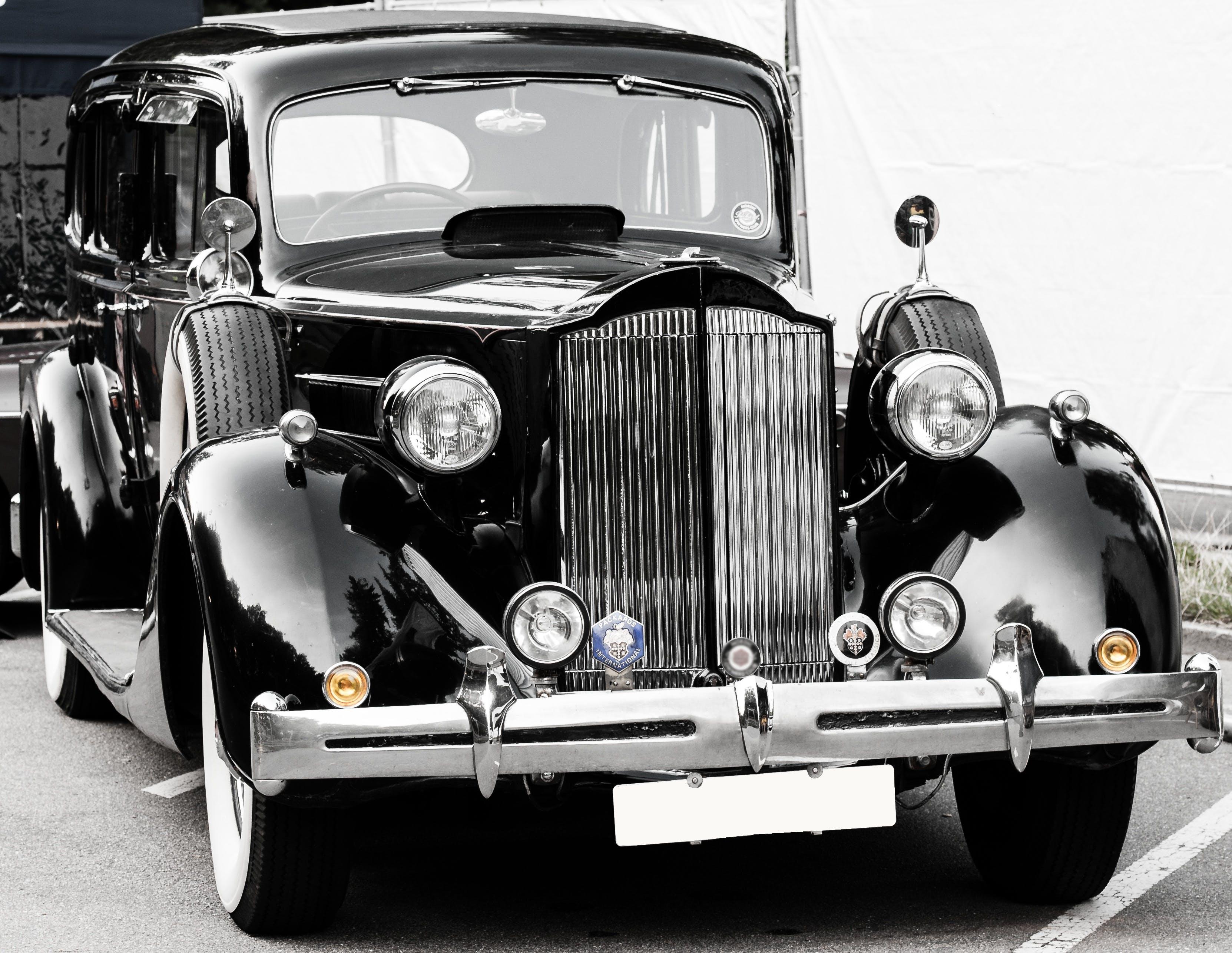 Ingyenes stockfotó antik, autó, autóipar, fekete-fehér témában