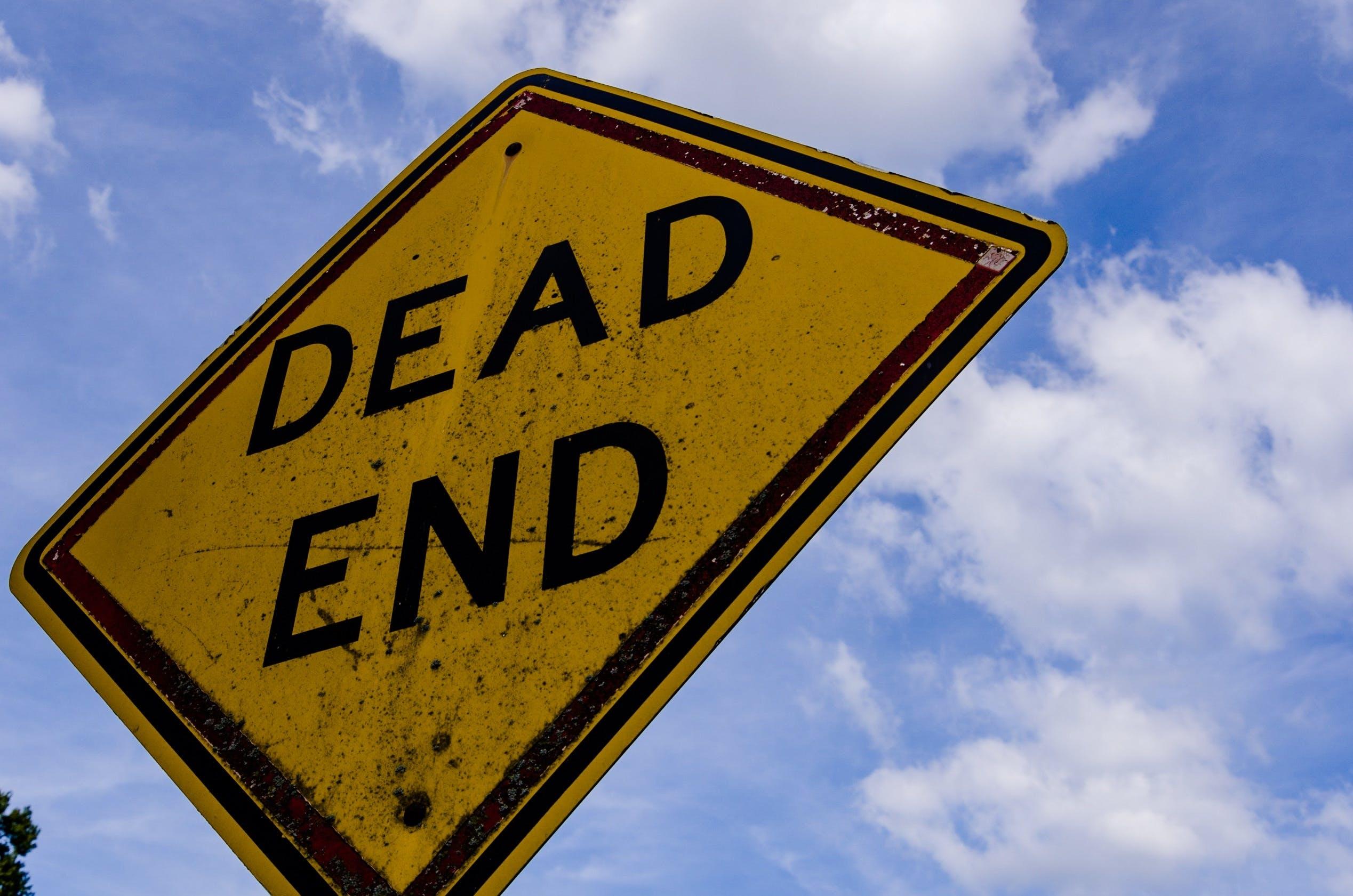 caution, dead end, post