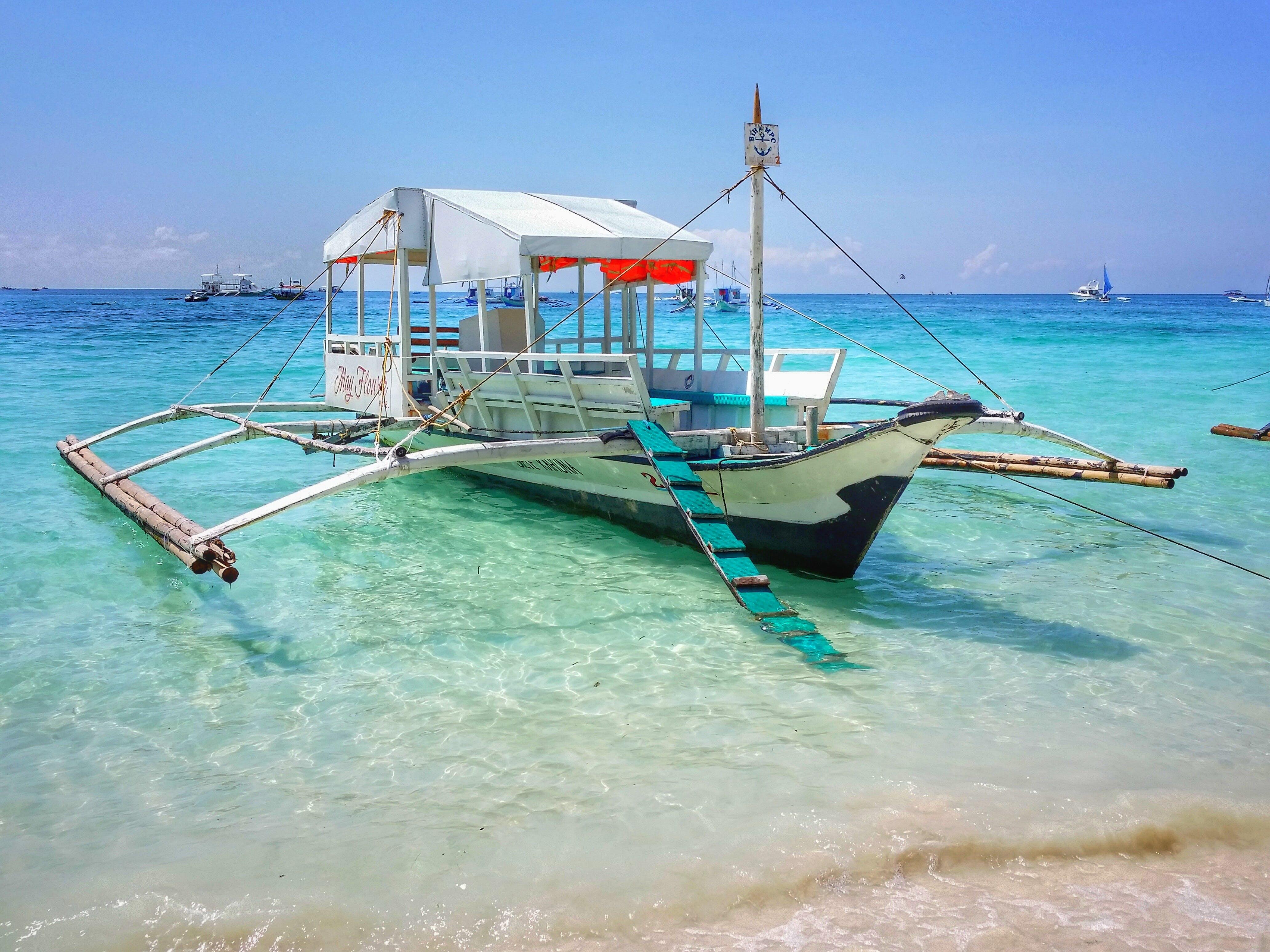 White Wooden Boat in Seashore