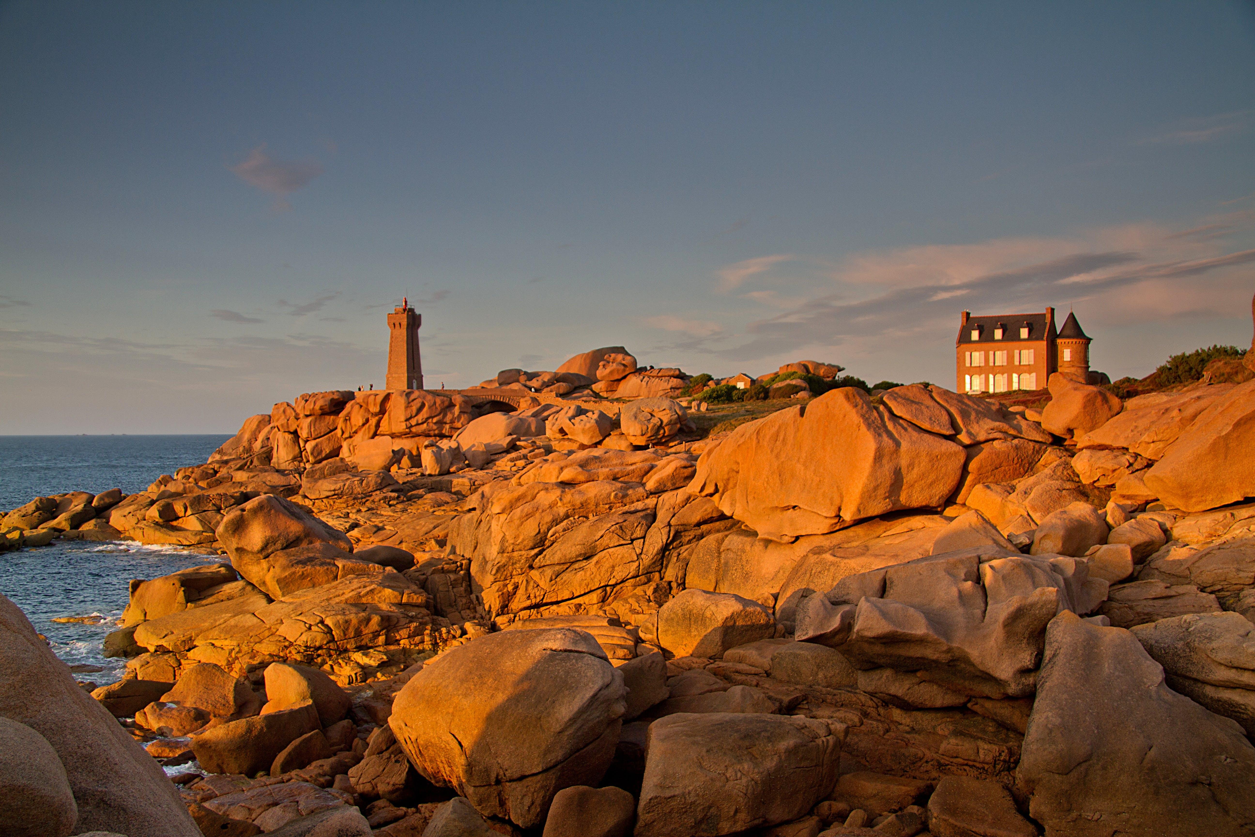 Free stock photo of sunset, france, coast, lighthouse