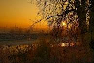landschaft, sonnenuntergang, winter